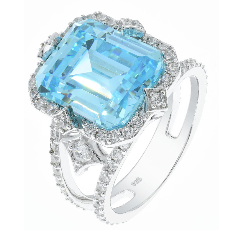 Aqua CZ Ladies Sterling Ring