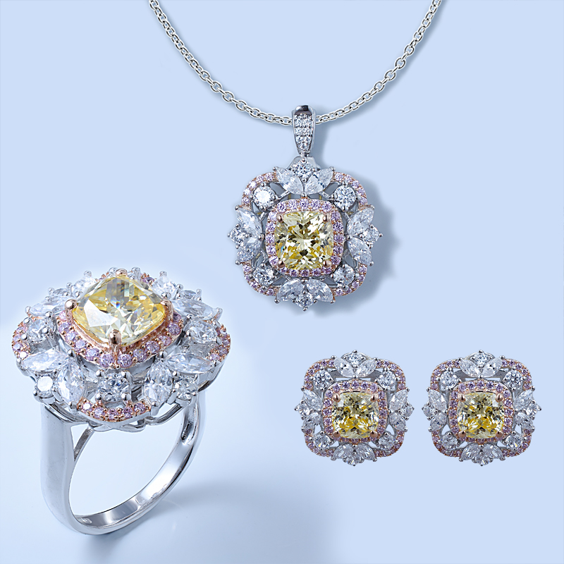 Diamond Yellow Jewelry Set For Ladies