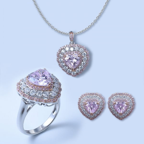 925 sterling silver heart shape jewelry conjunto com diamante rosa cz